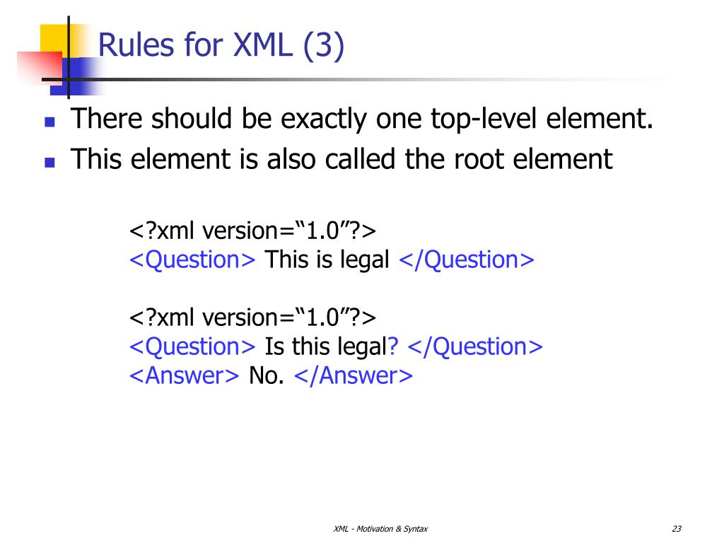 Rules for XML (3)