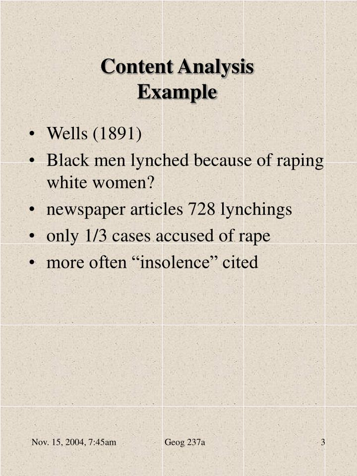 Content analysis example
