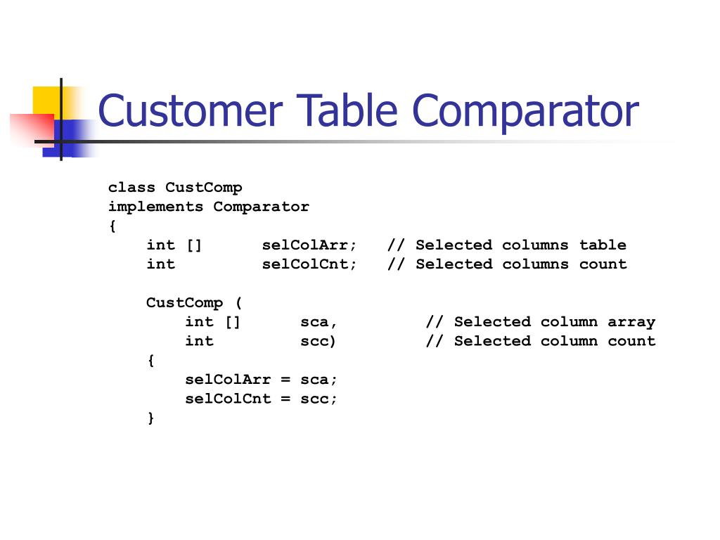 Customer Table Comparator