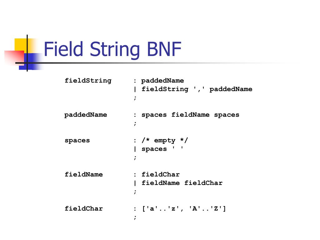 Field String BNF