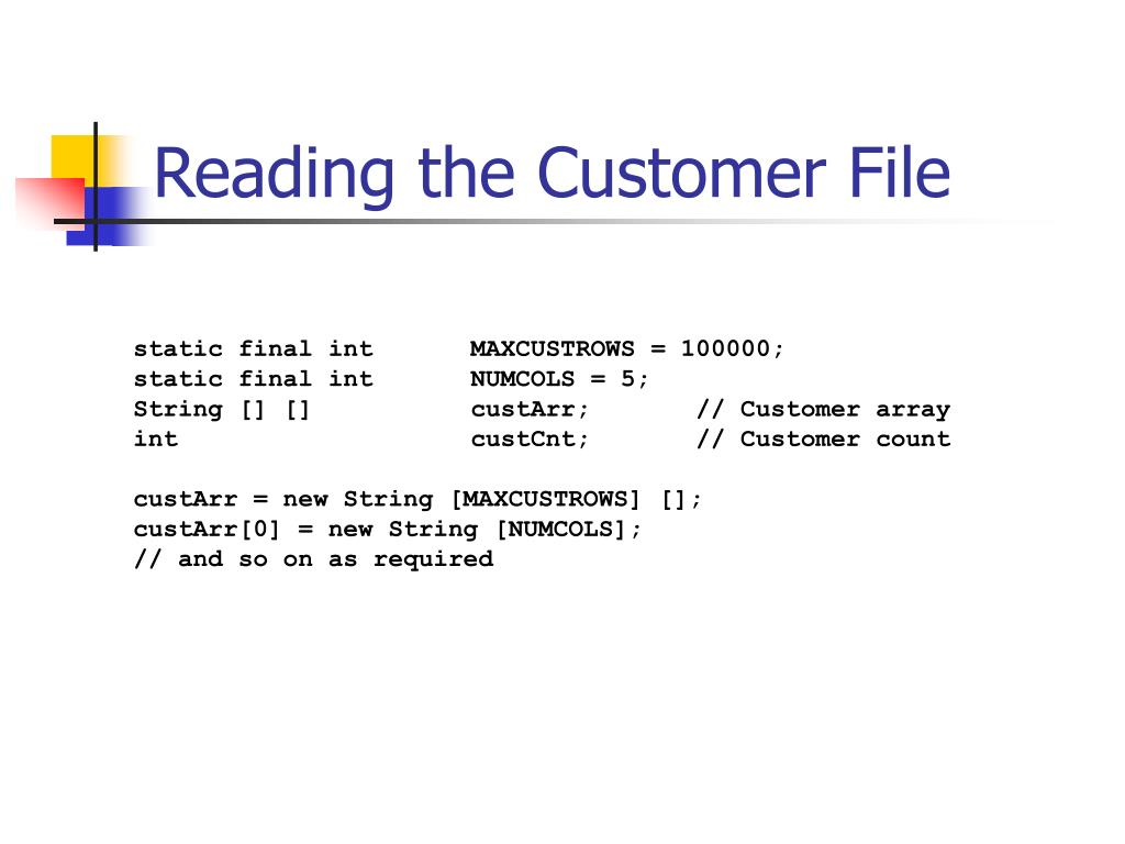 Reading the Customer File