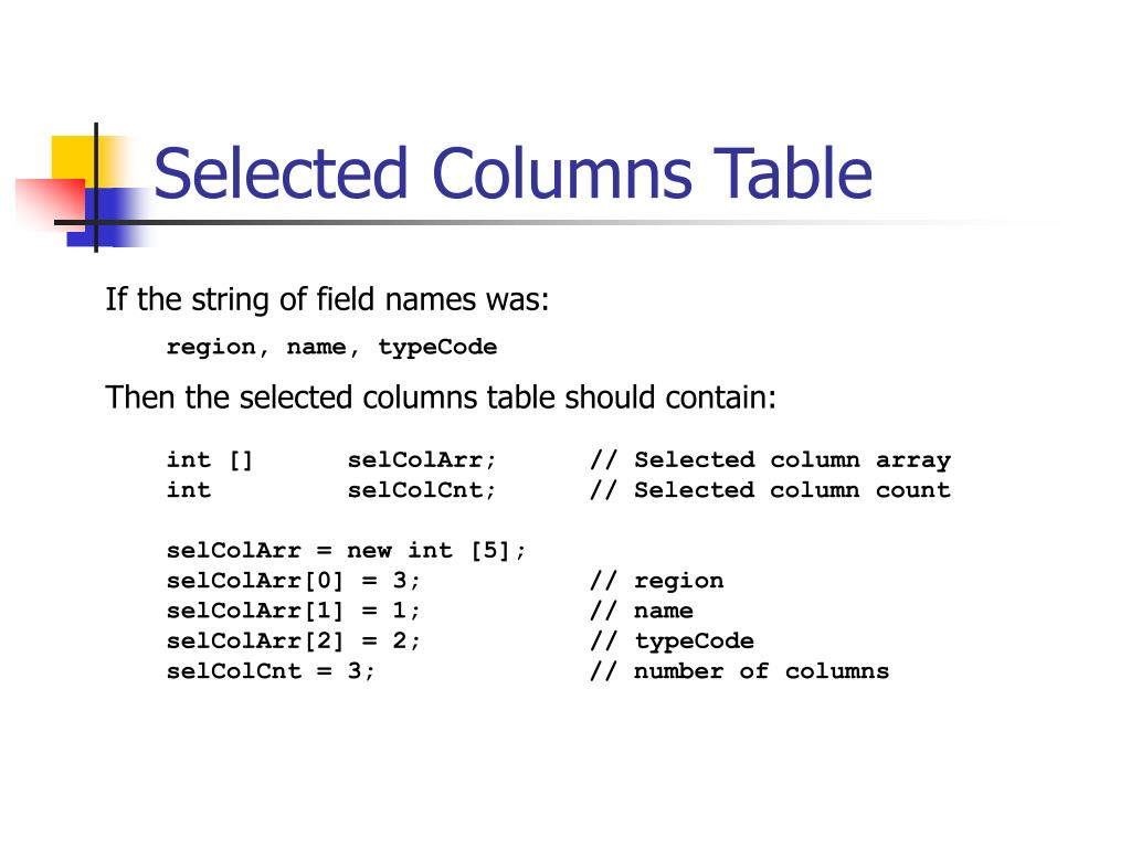 Selected Columns Table