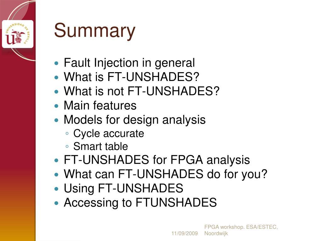 FPGA workshop. ESA/ESTEC, Noordwijk