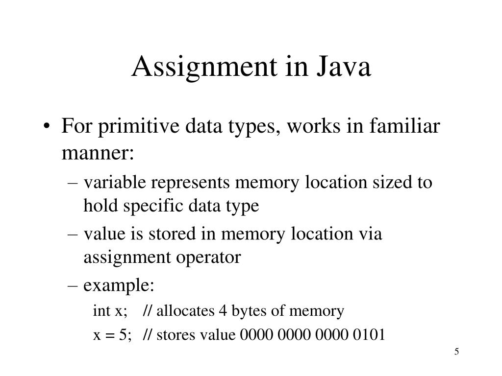 Assignment in Java