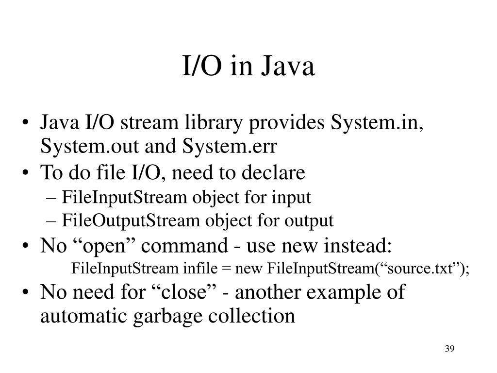 I/O in Java