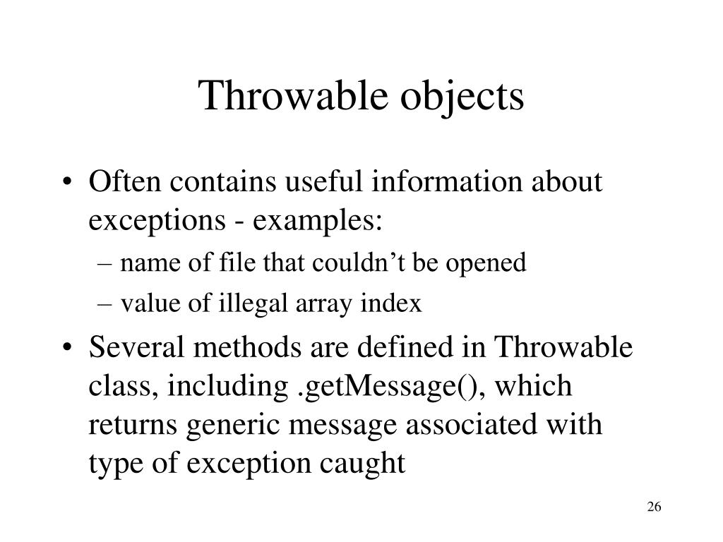 Throwable objects