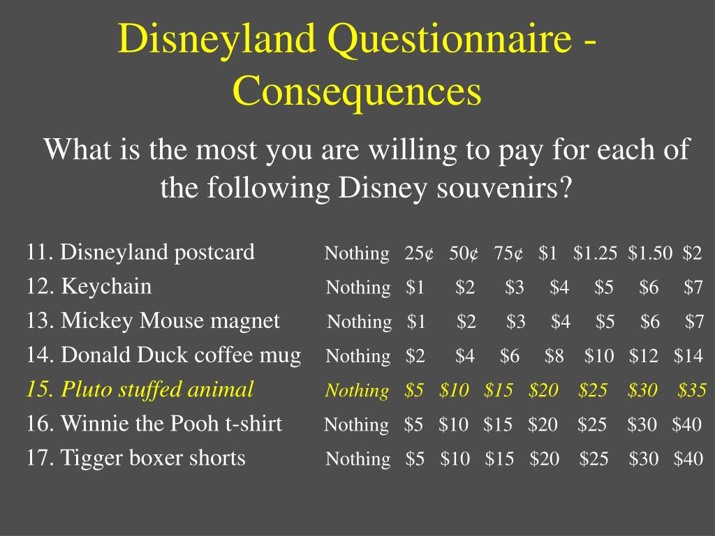 Disneyland Questionnaire - Consequences