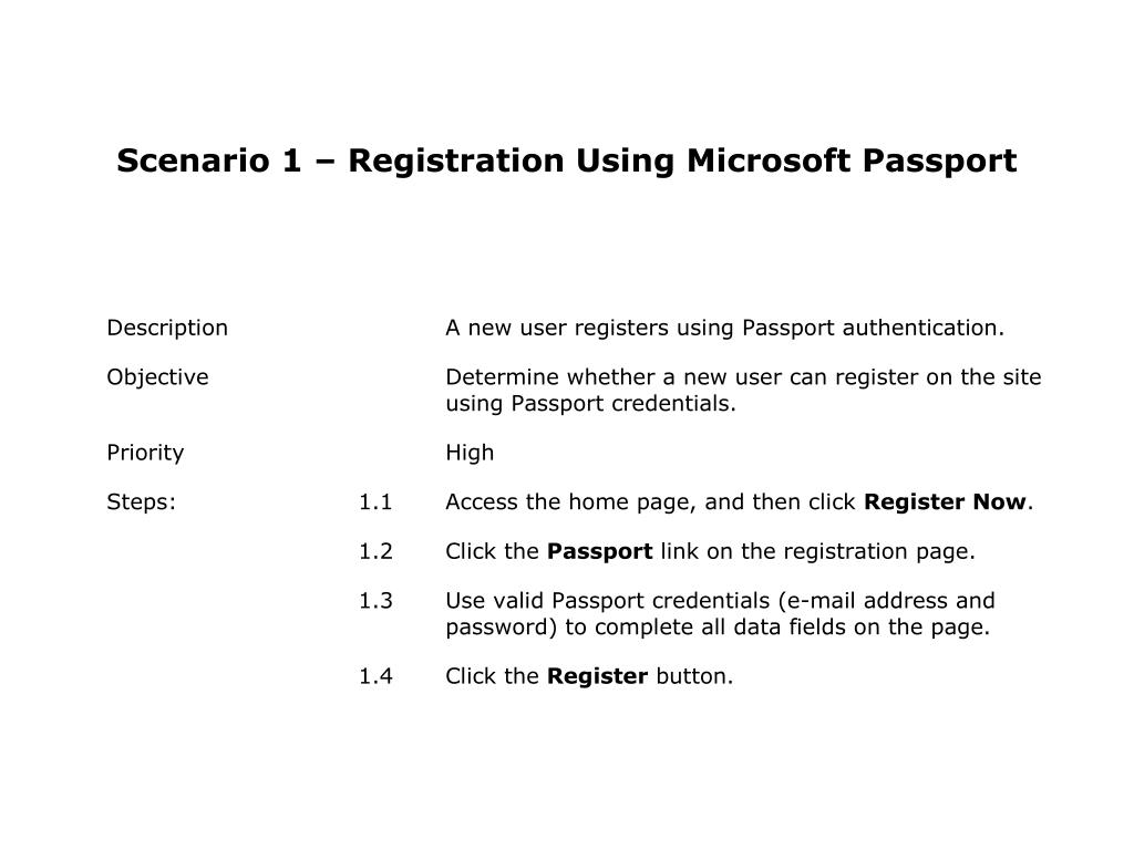 Scenario 1 – Registration Using Microsoft Passport