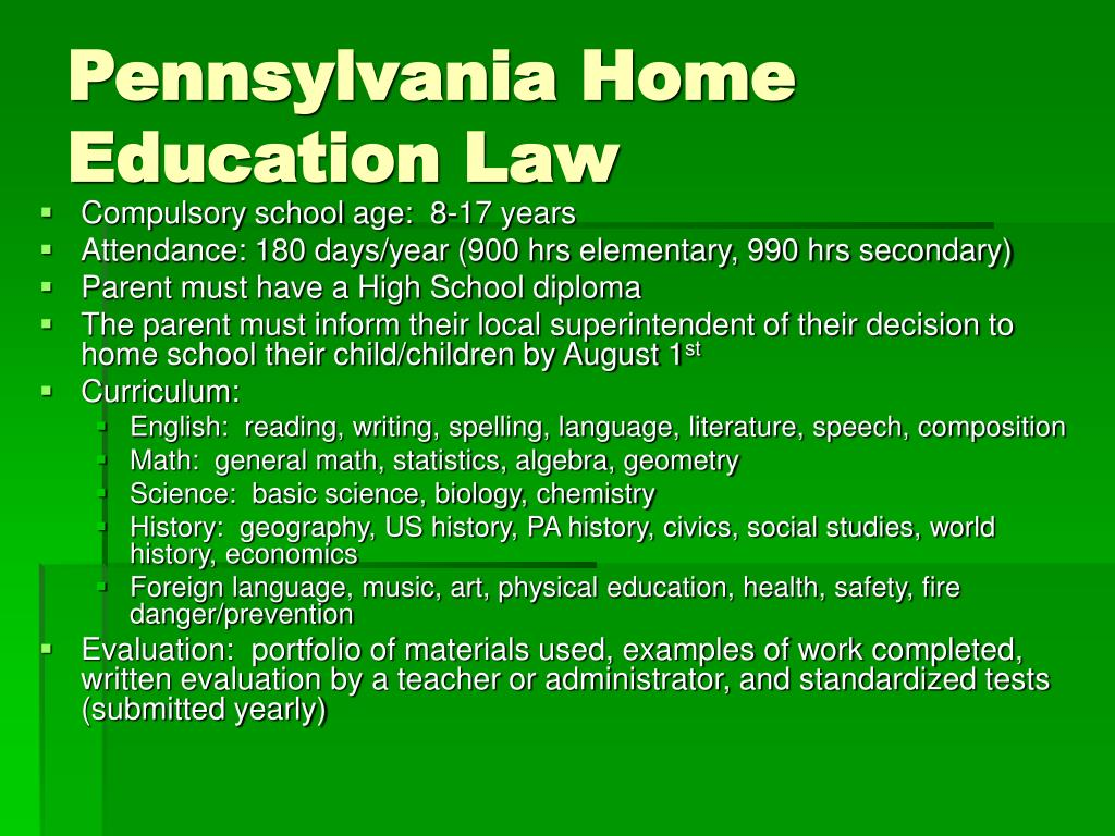 Pennsylvania Home Education Law