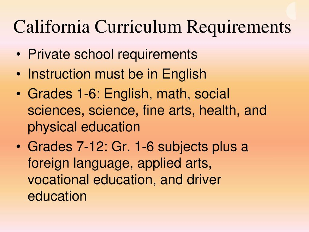 California Curriculum Requirements