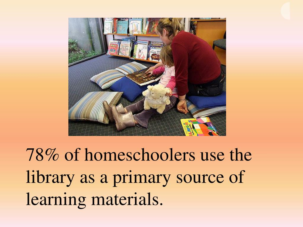 78% of homeschoolers use the library as a primary source of learning materials.