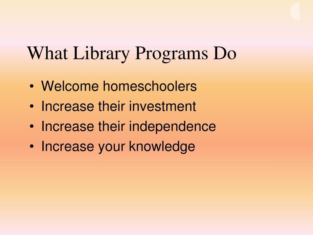 What Library Programs Do