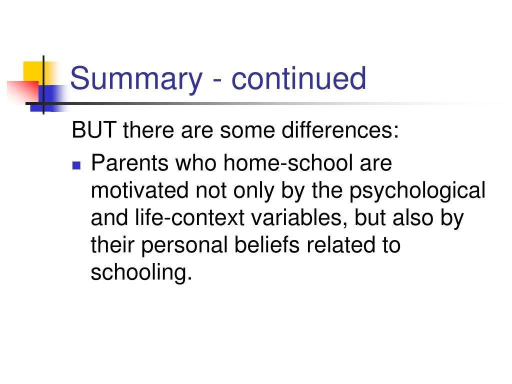 Summary - continued
