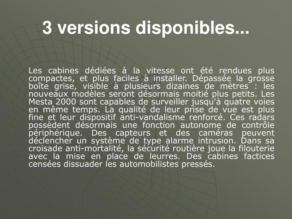 3 versions disponibles...