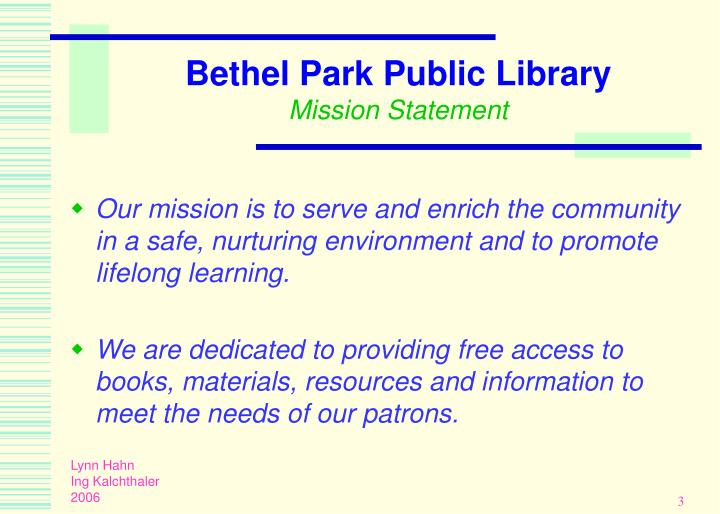 Bethel park public library mission statement