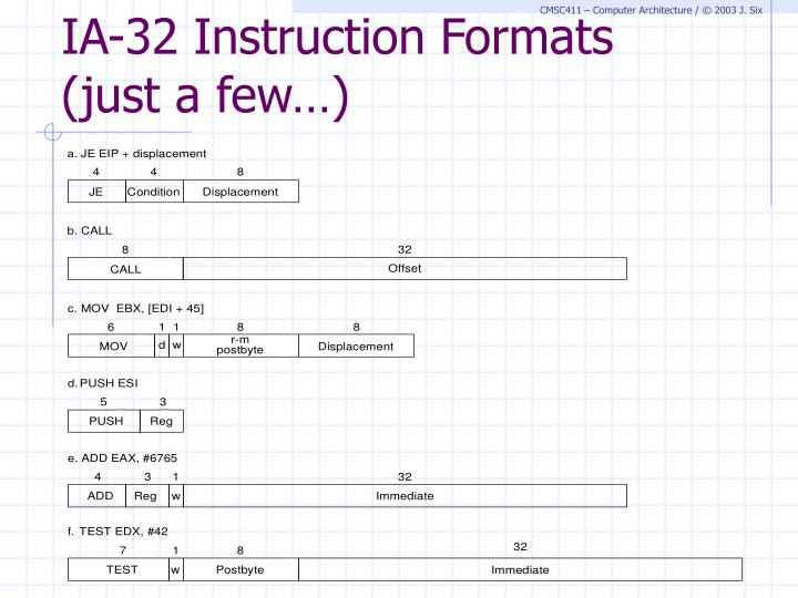 IA-32 Instruction Formats (just a few…)