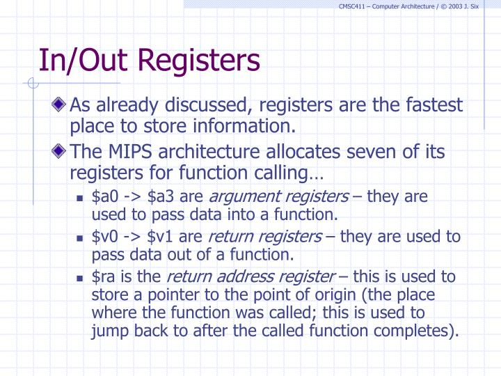 In/Out Registers