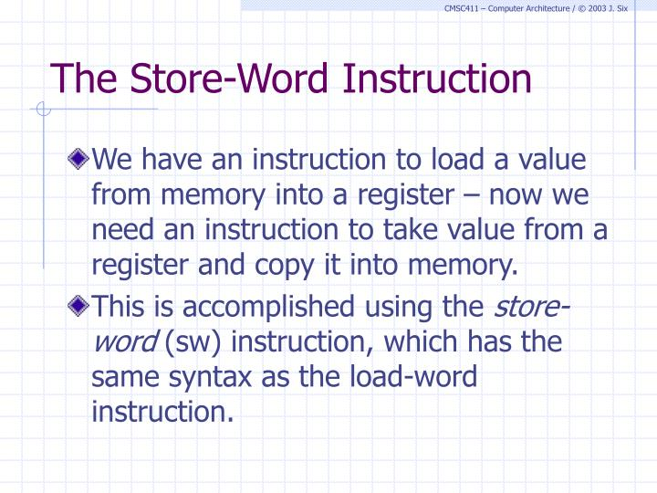The Store-Word Instruction