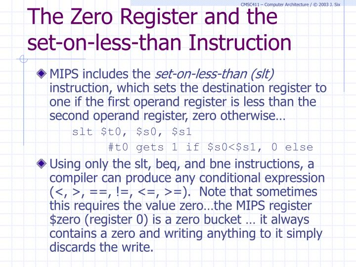 The Zero Register and the