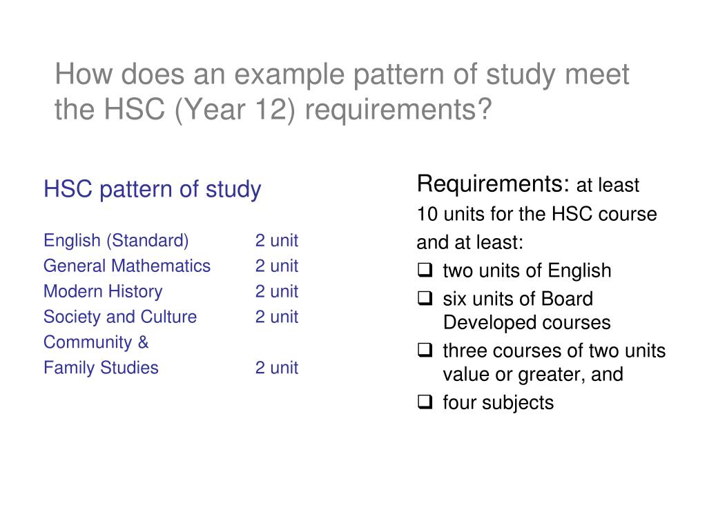 How does an example pattern of study meet the HSC (Year 12) requirements?