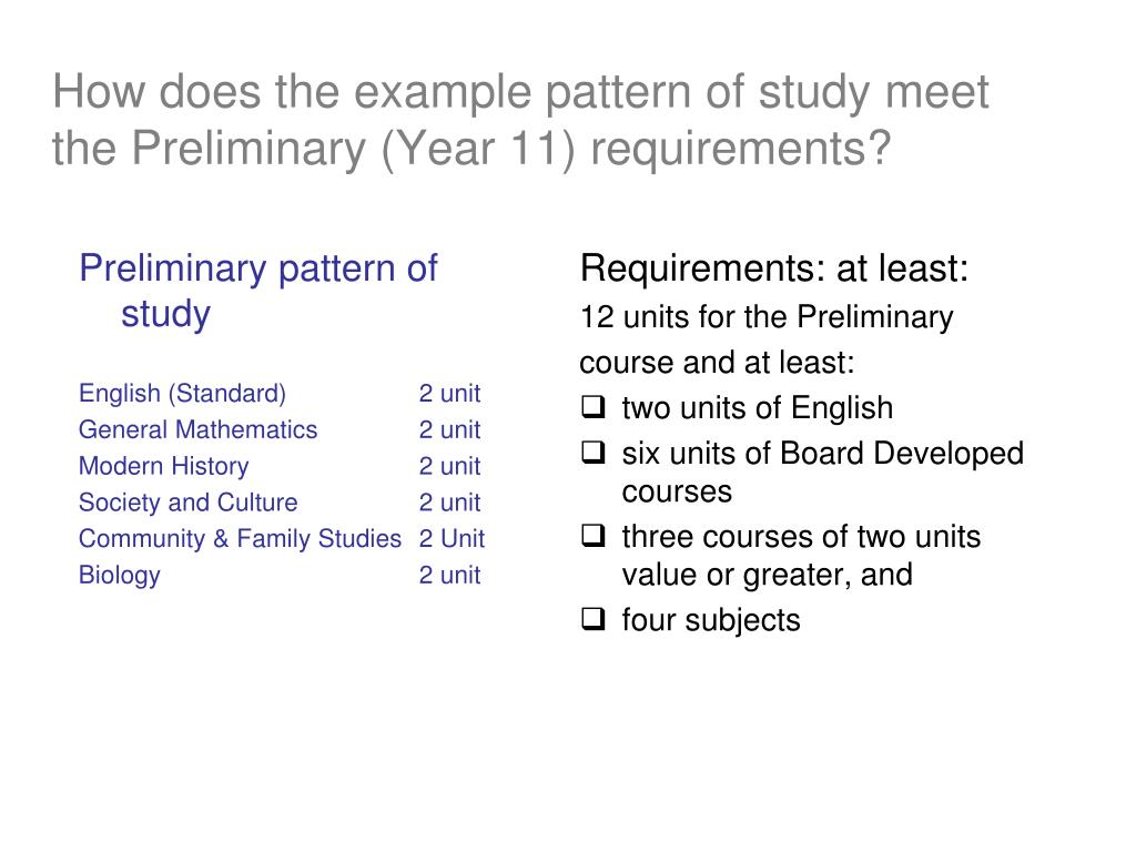 How does the example pattern of study meet the Preliminary (Year 11) requirements?