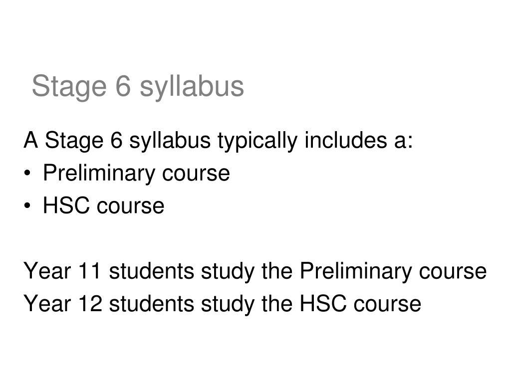 Stage 6 syllabus