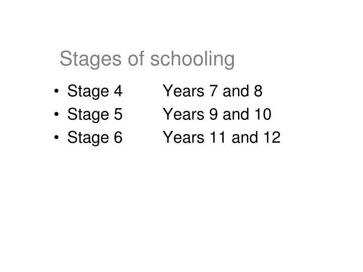Stages of schooling