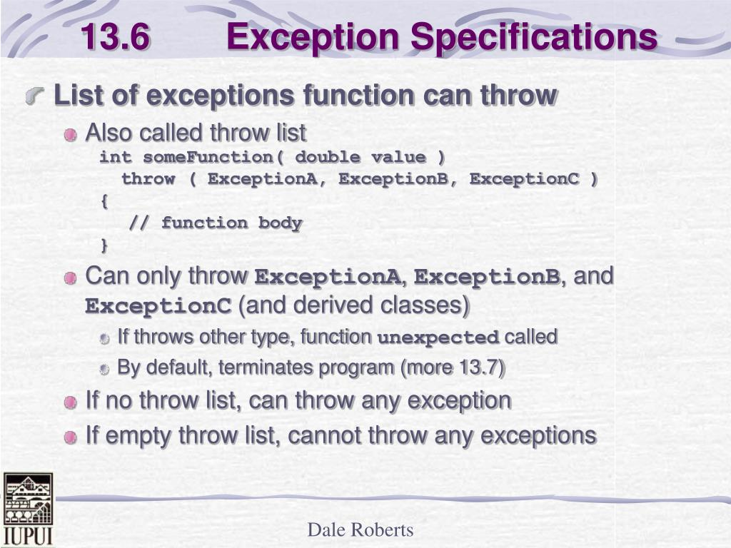 13.6  Exception Specifications