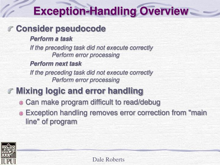 Exception handling overview l.jpg