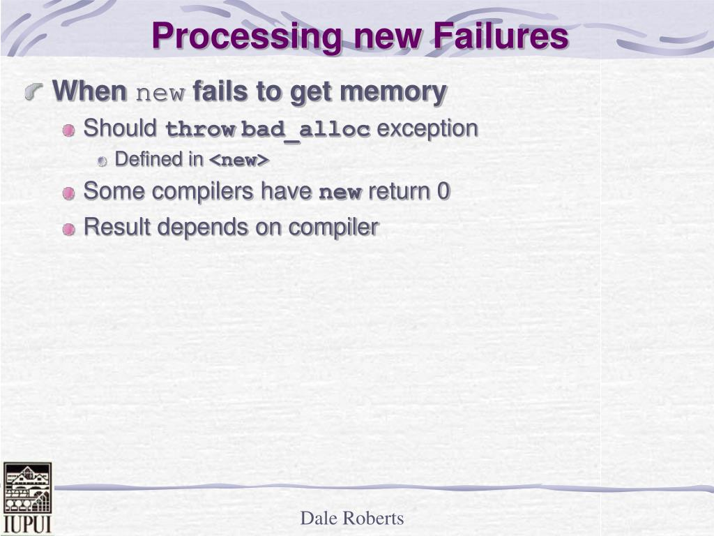 Processing new Failures