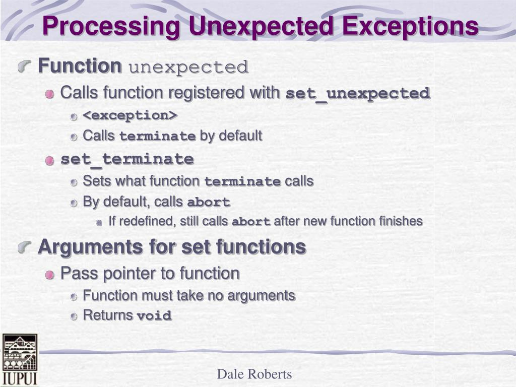 Processing Unexpected Exceptions