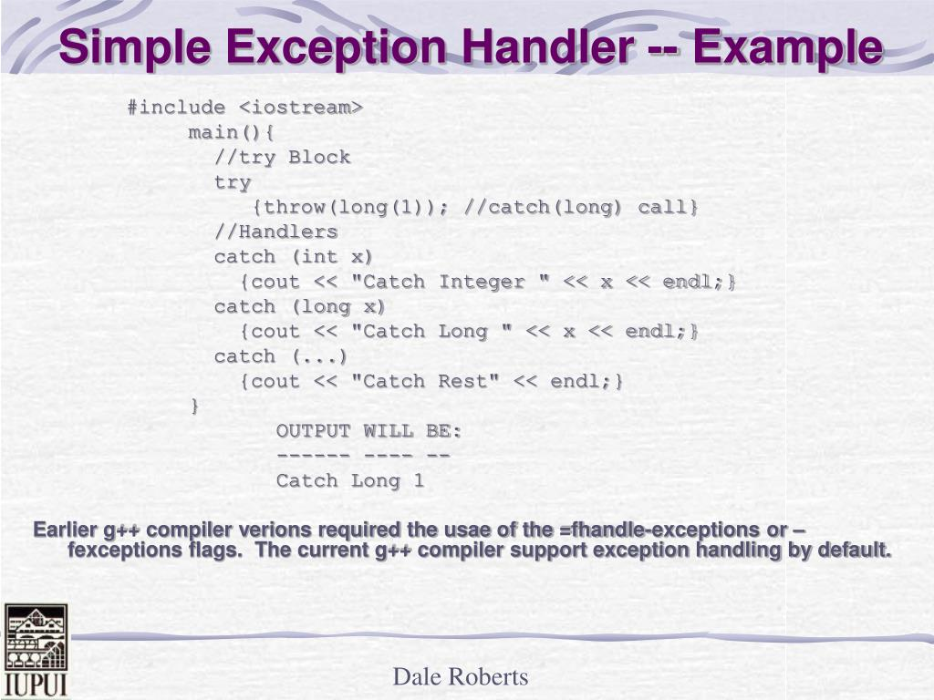 Simple Exception Handler -- Example