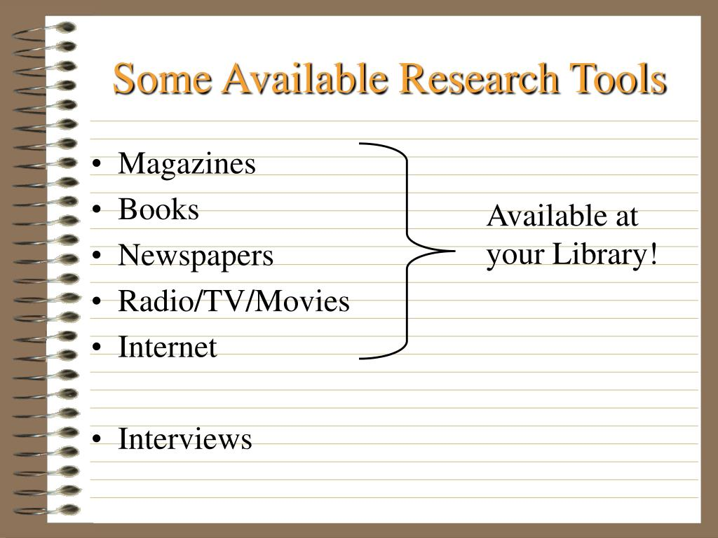 Some Available Research Tools