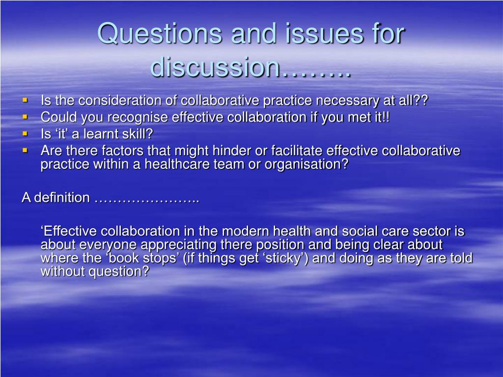 barriers to effective teamwork in health and social care practice However, it is pointed out that the greatest barrier to effective teamwork and communication is the organisational context, and the appropriate supports and integration group discussions with the health care team: a method of improving care of hypertension in general practice social influence and social change.