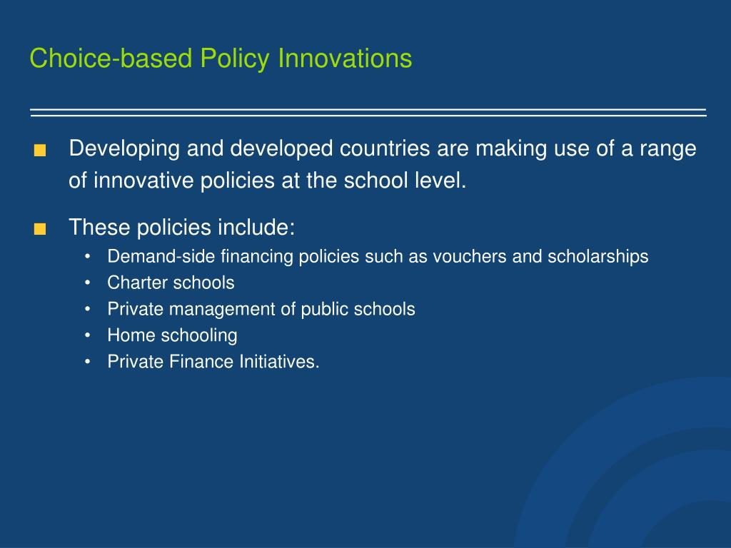 Choice-based Policy Innovations