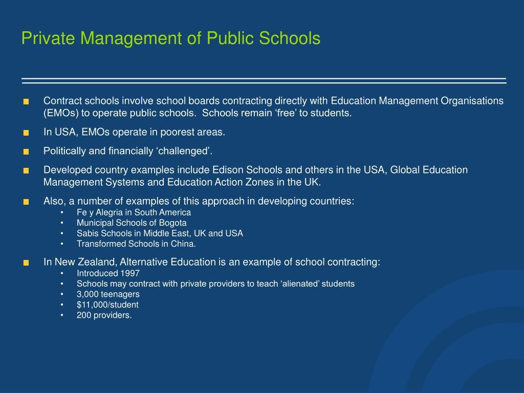 Private Management of Public Schools