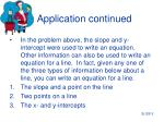application continued