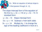 ex write an equation of whose slope is 3 that passes through 4 27
