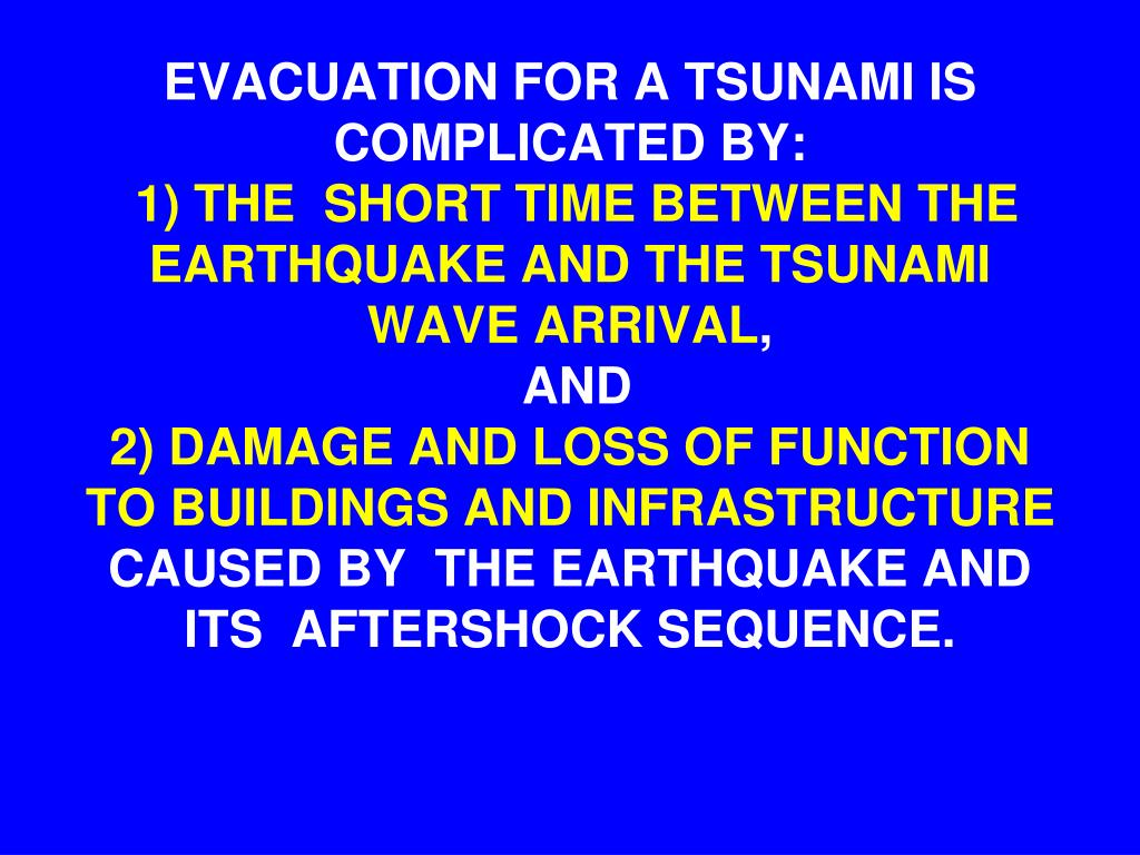 EVACUATION FOR A TSUNAMI IS COMPLICATED BY: