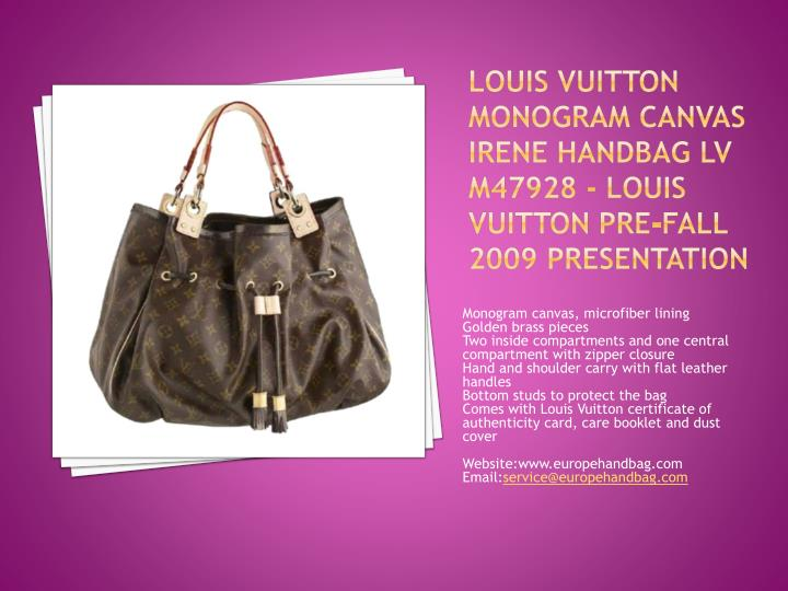 Louis vuitton monogram canvas irene handbag lv m47928 louis vuitton pre fall 2009 presentation