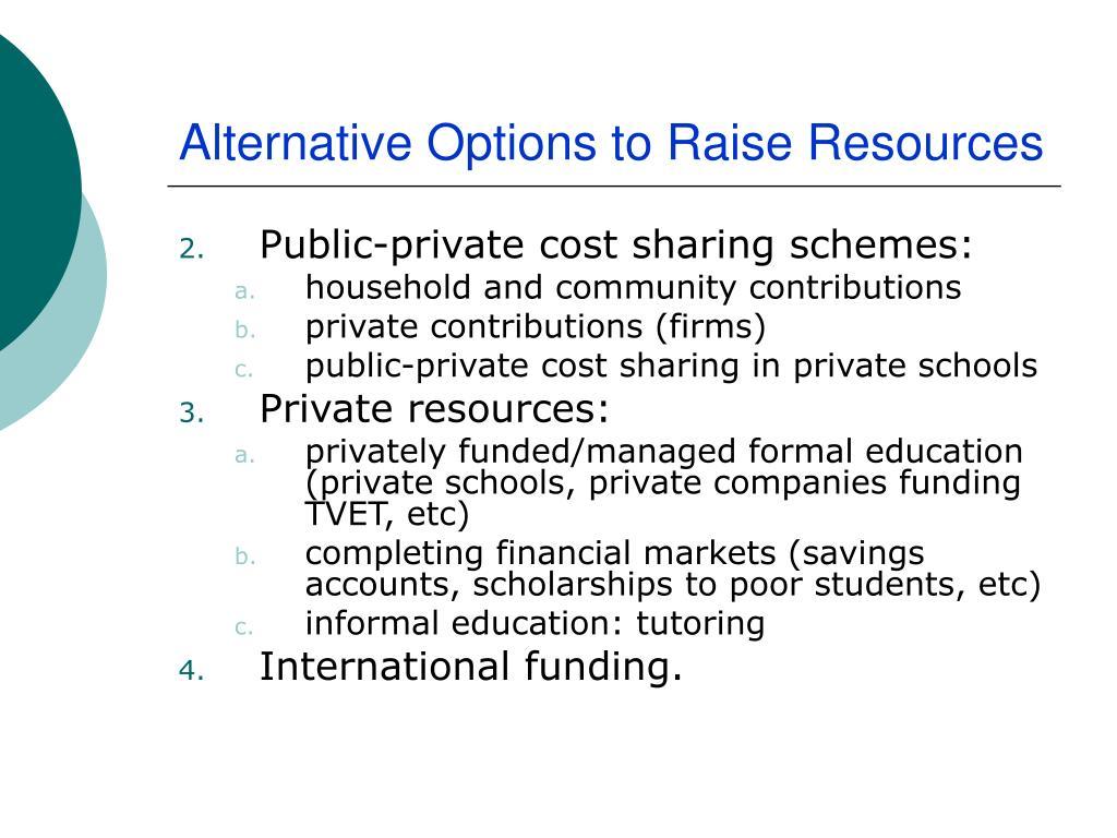 Alternative Options to Raise Resources