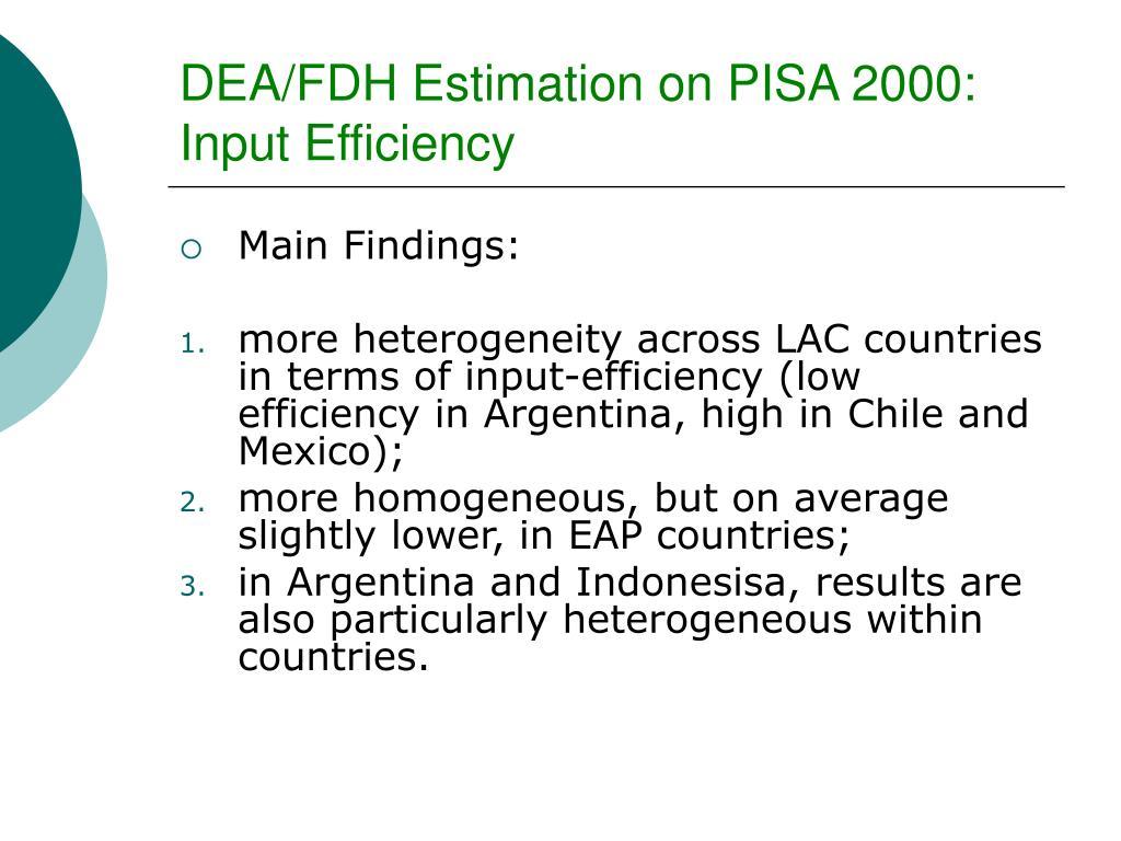 DEA/FDH Estimation on PISA 2000: Input Efficiency