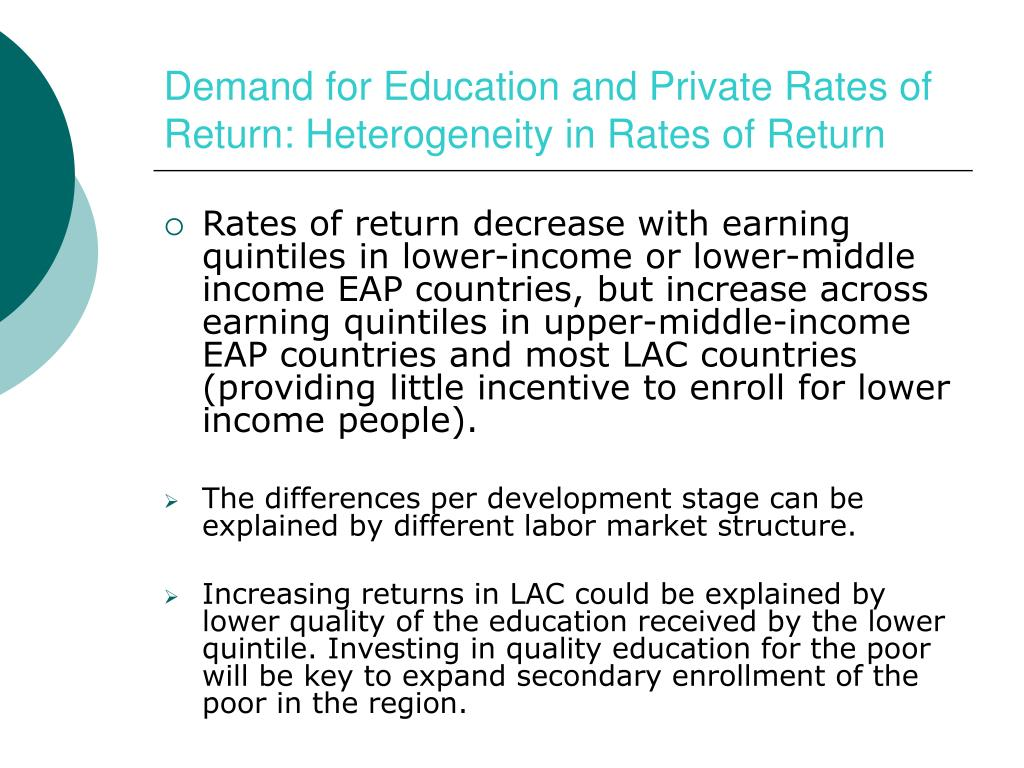 Demand for Education and Private Rates of Return: Heterogeneity in Rates of Return