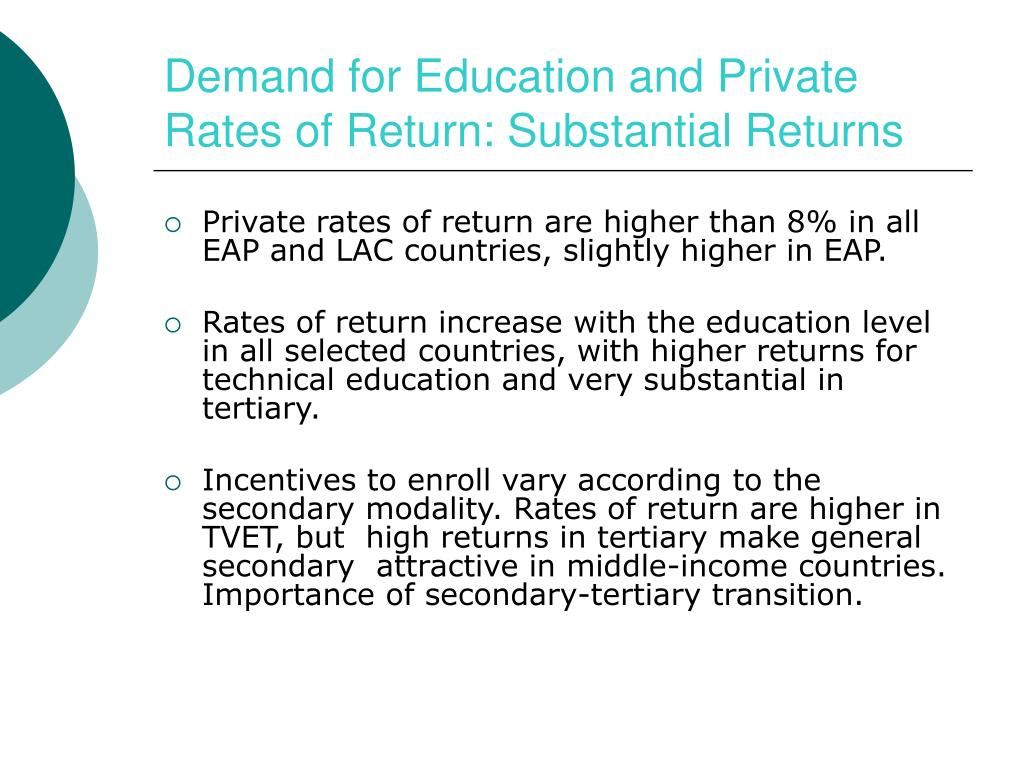 Demand for Education and Private Rates of Return: Substantial Returns