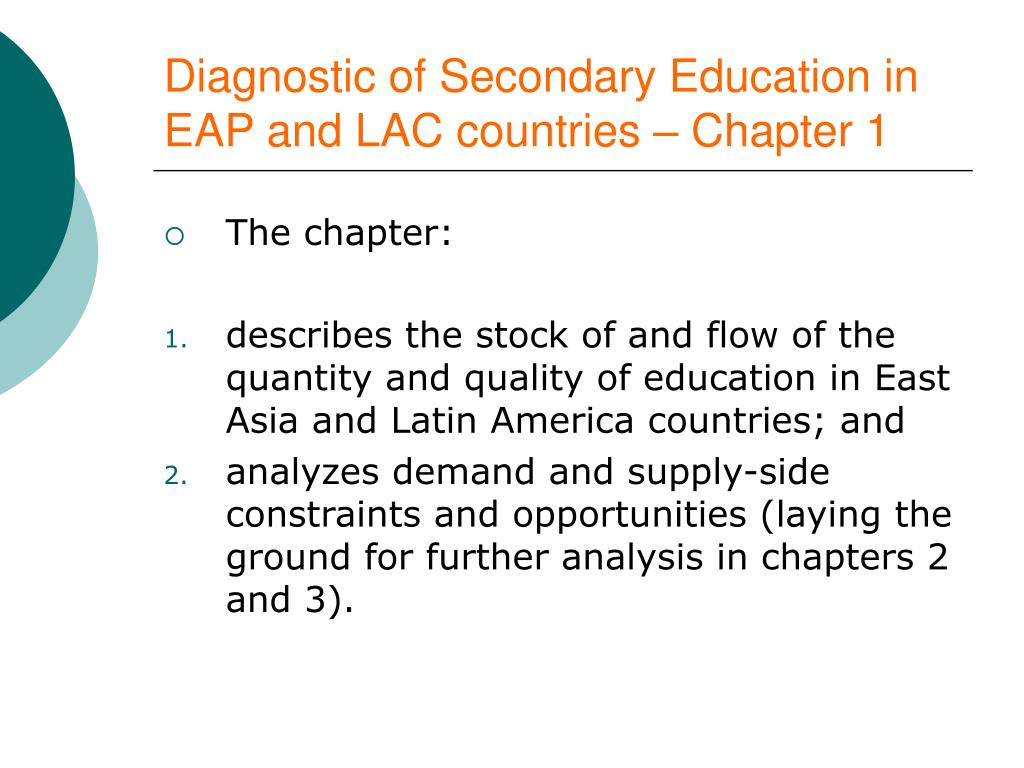 Diagnostic of Secondary Education in EAP and LAC countries – Chapter 1