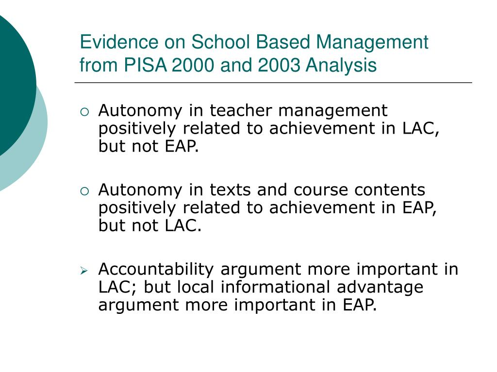 Evidence on School Based Management  from PISA 2000 and 2003 Analysis