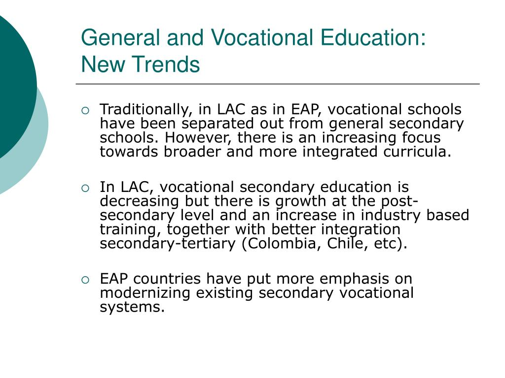 General and Vocational Education: New Trends