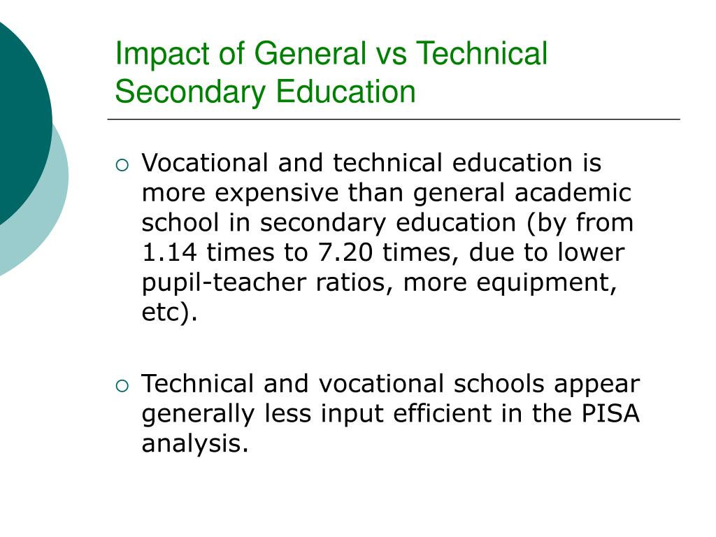 Impact of General vs Technical Secondary Education
