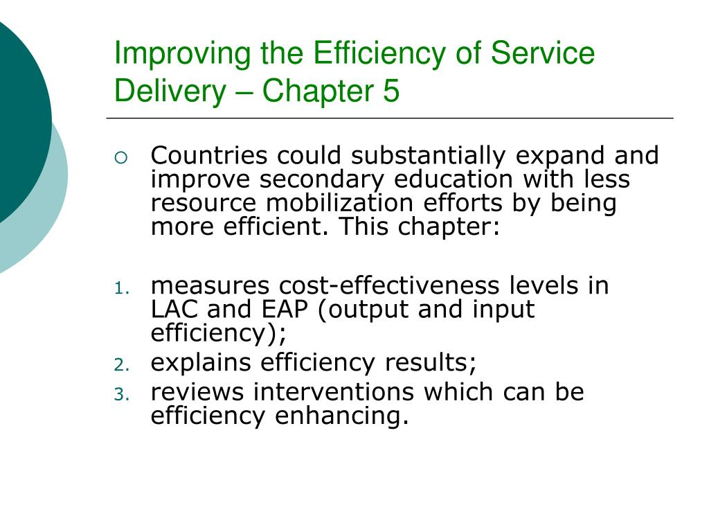 Improving the Efficiency of Service Delivery – Chapter 5