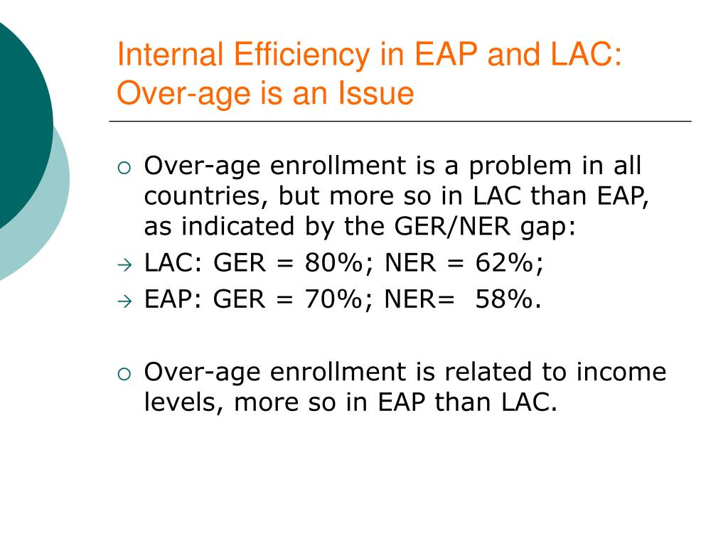 Internal Efficiency in EAP and LAC: Over-age is an Issue